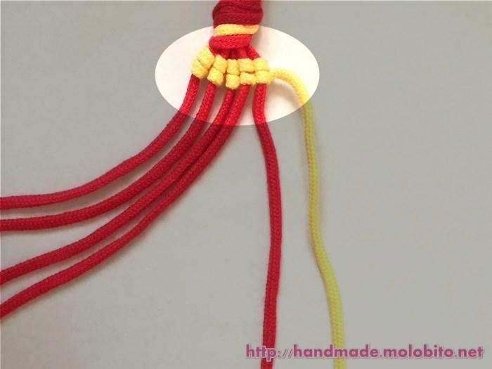縦巻き結びの編み方手順14