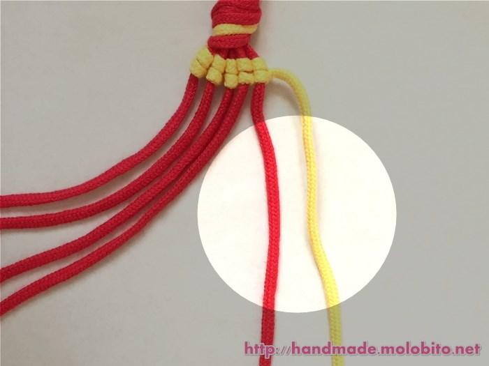 縦巻き結びの編み方手順15