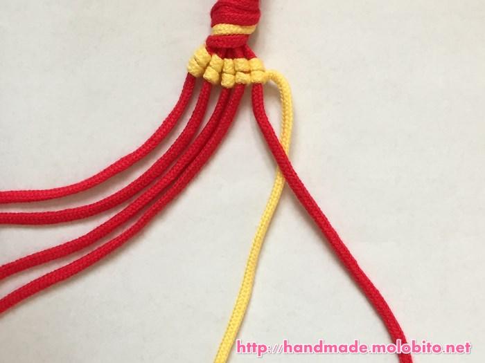 縦巻き結びの編み方手順17