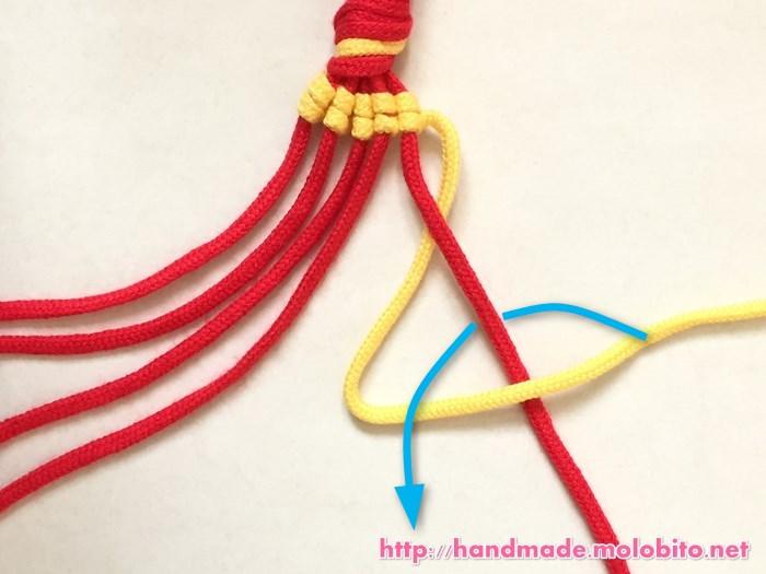 縦巻き結びの編み方手順20
