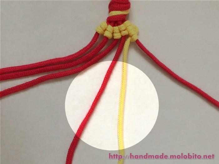 縦巻き結びの編み方手順25