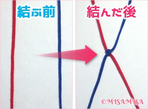 逆4の字結びをする前とした後の比較