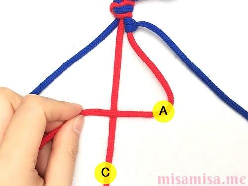 2色4本の斜め模様ミサンガの作り方手順13