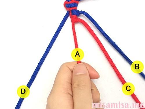 2色4本の斜め模様ミサンガの作り方手順18