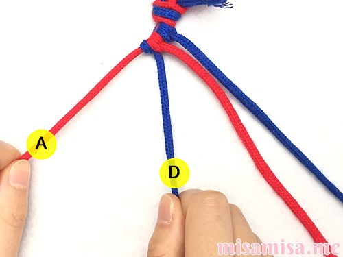 片方輪っかの2色2本の斜め模様ミサンガの作り方手順23