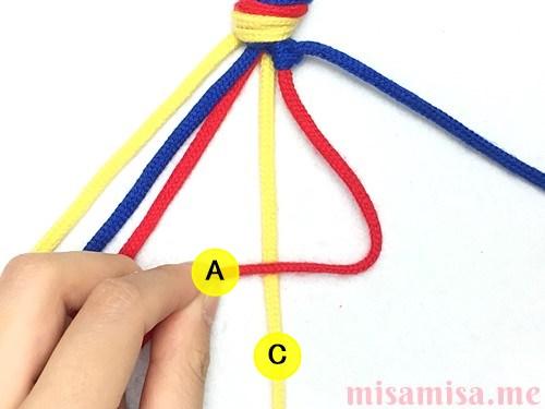 3色6本の斜め模様ミサンガの作り方手順13