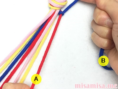 片方輪っかの4色4本の斜め模様ミサンガの作り方手順9