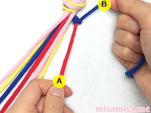 片方輪っかの4色4本の斜め模様ミサンガの作り方手順12