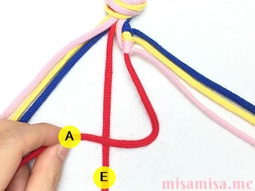 片方輪っかの4色4本の斜め模様ミサンガの作り方手順27