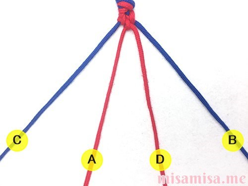 片方輪っかの2色2本のV字模様ミサンガの作り方手順33