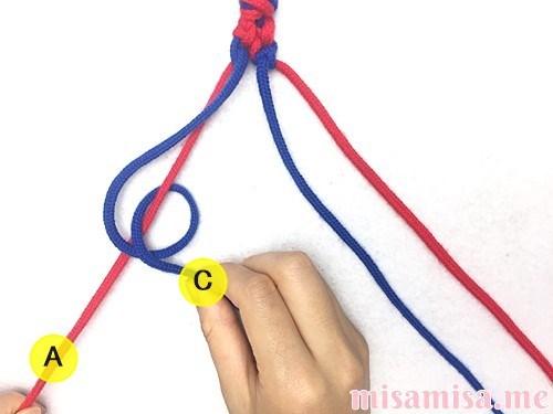 片方輪っかの2色2本のV字模様ミサンガの作り方手順45