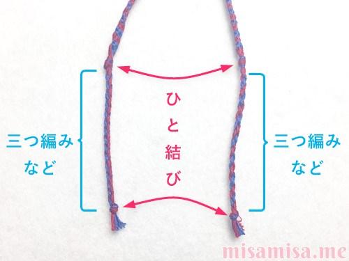 2色4本のV字模様ミサンガの作り方手順