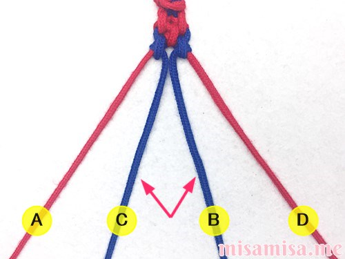 片方輪っかの2色2本のV字模様ミサンガの作り方手順48
