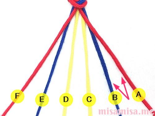 片方輪っかの3色3本のV字模様ミサンガの作り方手順5