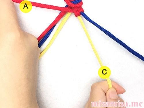 片方輪っかの3色3本のV字模様ミサンガの作り方手順19