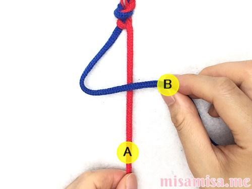 2色2本の左右結びミサンガの作り方手順9