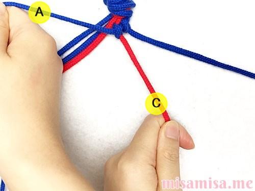 片方輪っかの極小ハート模様ミサンガの作り方手順17
