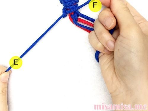 片方輪っかの極小ハート模様ミサンガの作り方手順24