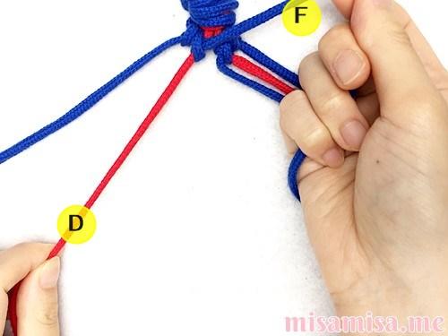 片方輪っかの極小ハート模様ミサンガの作り方手順31