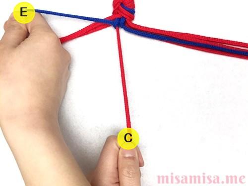 ひし形(ダイヤ)模様ミサンガの作り方手順15