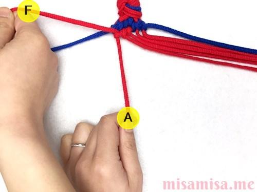 ひし形(ダイヤ)模様ミサンガの作り方手順69