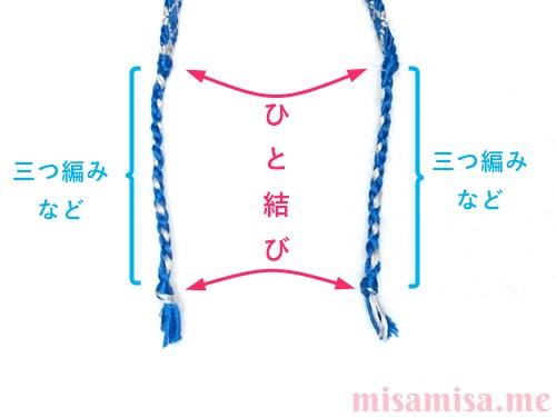 ひし形(ダイヤ)模様ミサンガの作り方手順208