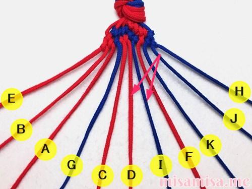 渦巻き模様ミサンガの作り方手順146