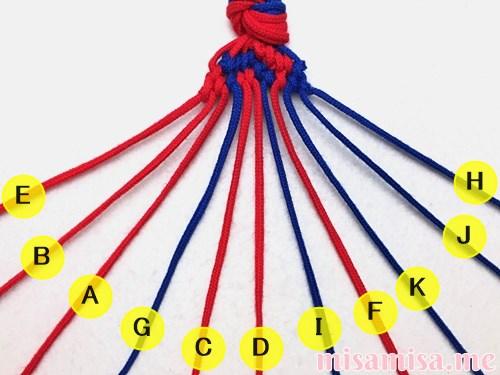 渦巻き模様ミサンガの作り方手順145