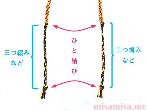 ねじり結び(ねじり編み)ミサンガの作り方手順13