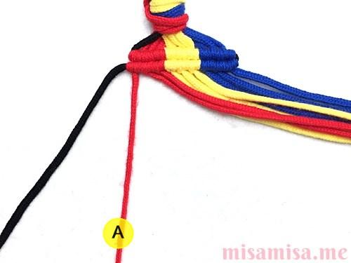 縦ストライプ模様ミサンガの作り方手順44