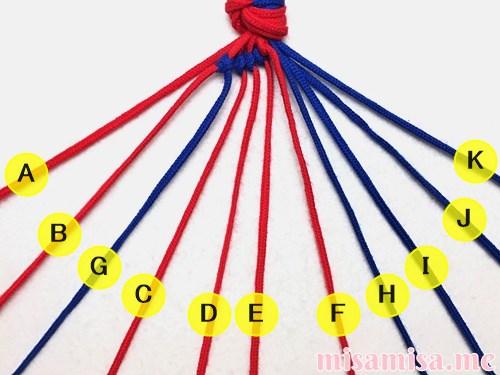 渦巻き模様ミサンガの作り方手順38