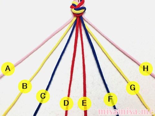 幾何学模様(ネイティブ柄)ミサンガの作り方手順2