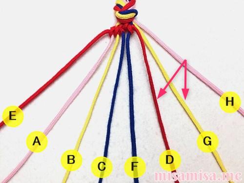幾何学模様(ネイティブ柄)ミサンガの作り方手順38
