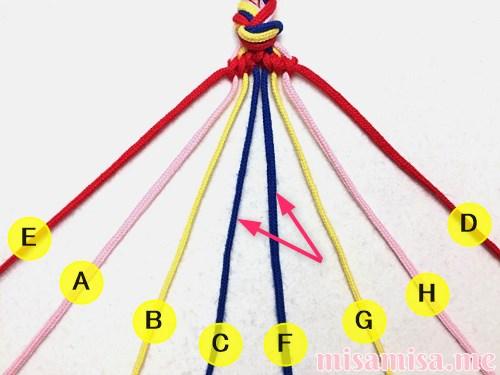 幾何学模様(ネイティブ柄)ミサンガの作り方手順52