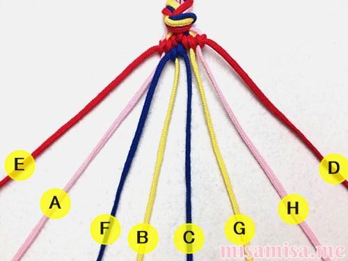 幾何学模様(ネイティブ柄)ミサンガの作り方手順65