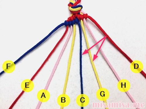 幾何学模様(ネイティブ柄)ミサンガの作り方手順80