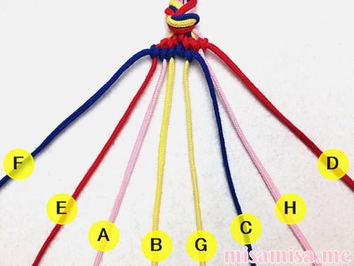 幾何学模様(ネイティブ柄)ミサンガの作り方手順86