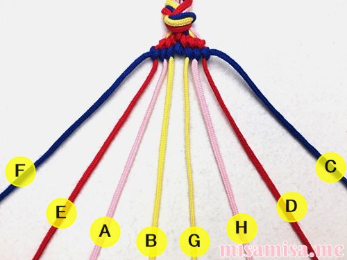 幾何学模様(ネイティブ柄)ミサンガの作り方手順100