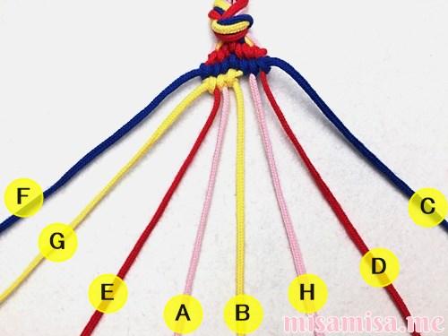 幾何学模様(ネイティブ柄)ミサンガの作り方手順121
