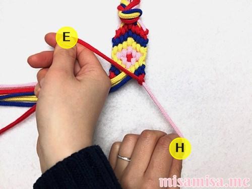 幾何学模様(ネイティブ柄)ミサンガの作り方手順297