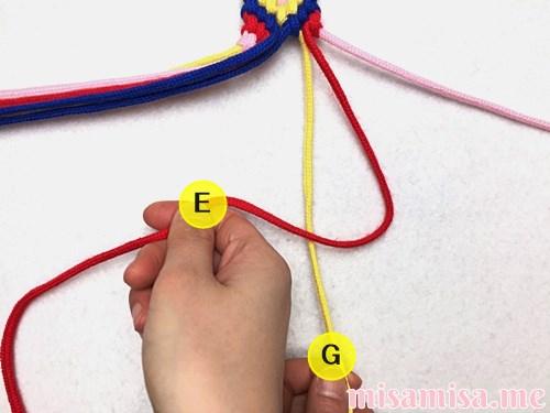 幾何学模様(ネイティブ柄)ミサンガの作り方手順335