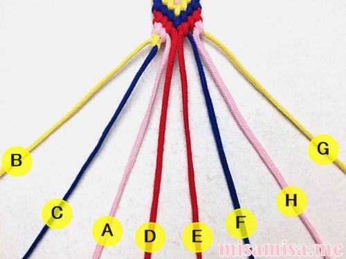 幾何学模様(ネイティブ柄)ミサンガの作り方手順383