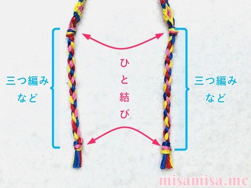 幾何学模様(ネイティブ柄)ミサンガの作り方手順452