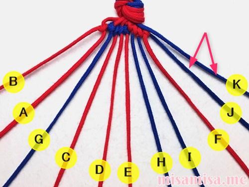 渦巻き模様ミサンガの作り方手順68