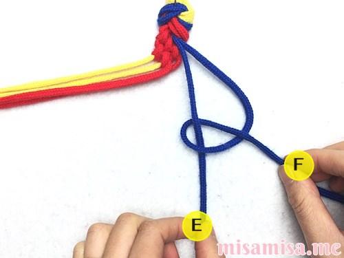 3色6本のモザイク模様ミサンガの作り方手順40