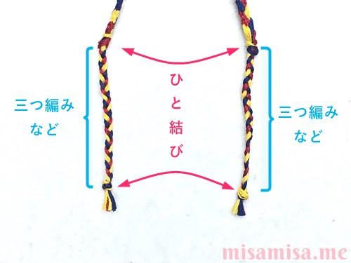 3色6本のモザイク模様ミサンガの作り方手順75
