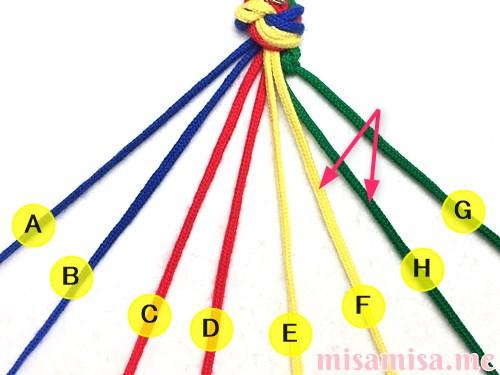 4色8本のモザイク模様ミサンガの作り方手順10