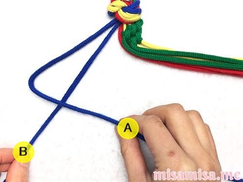 4色8本のモザイク模様ミサンガの作り方手順39