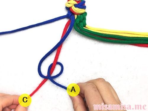 4色8本のモザイク模様ミサンガの作り方手順49