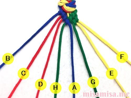 4色8本のモザイク模様ミサンガの作り方手順65